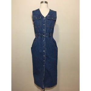 Vintage 90's Bill Blass denim pearl snap dress